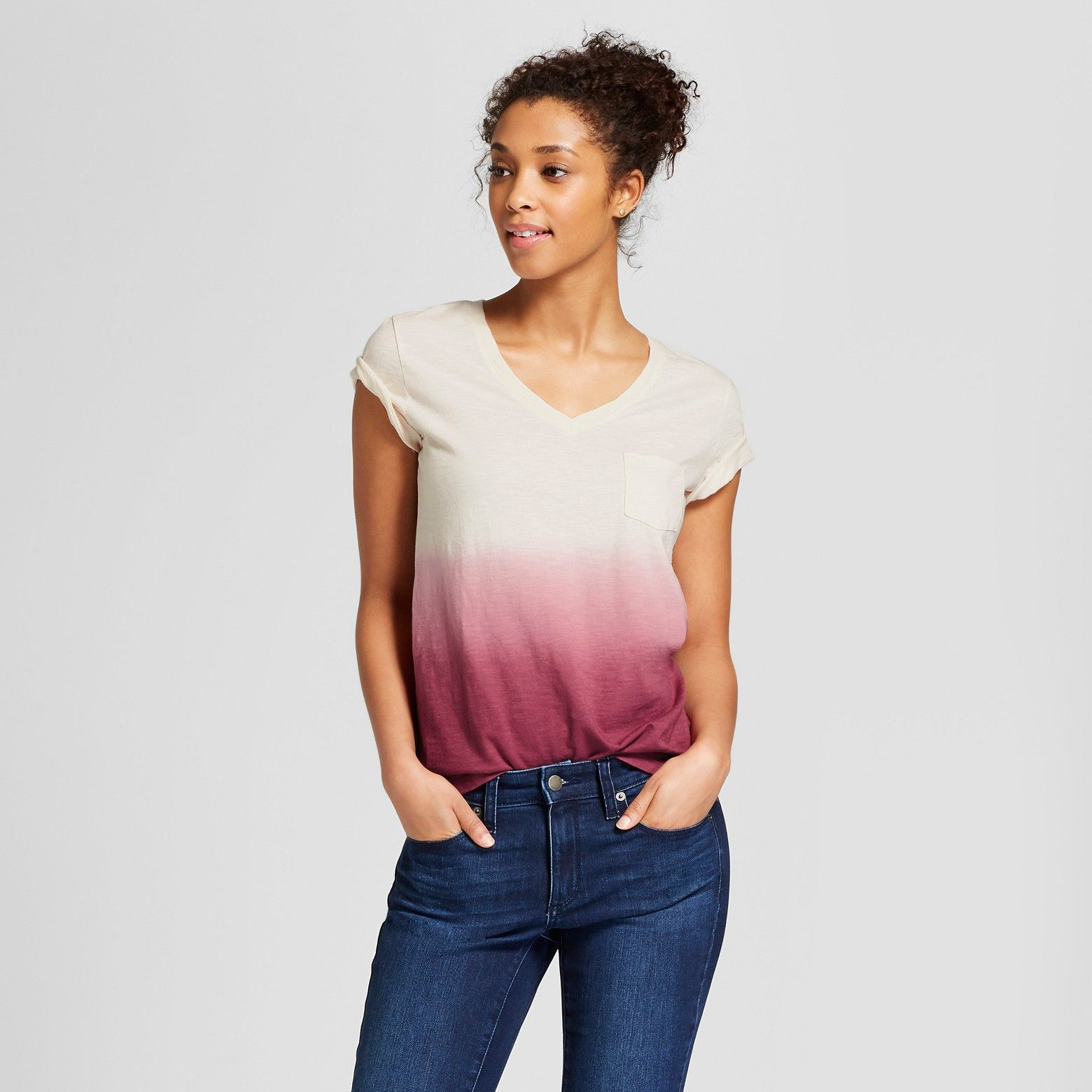1433c976ce Women s Monterey Pocket V-Neck Short Sleeve T-Shirt - Universal Thread™  Pink Dip Dye   Target