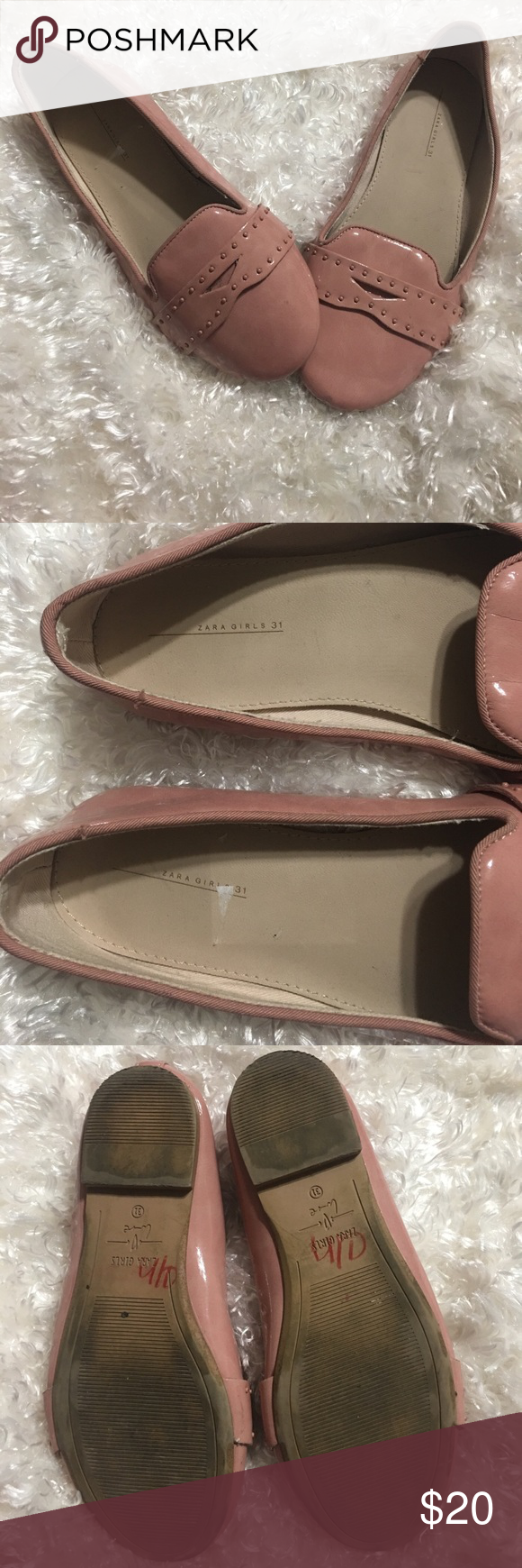 Zara girls flats Super cute dusty rose colored Zara Girls flats. They are used and have a few scuffs. Please see all photos, feel free to ask any questions and as always offers are welcome. Size 31 converts to size 1 us in girls. Zara Shoes Dress Shoes