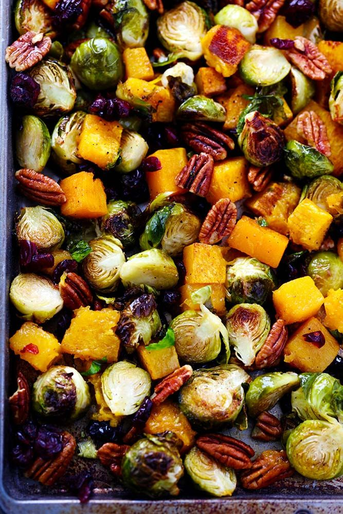 Maple Roasted Brussel Spouts And Butternut Squash