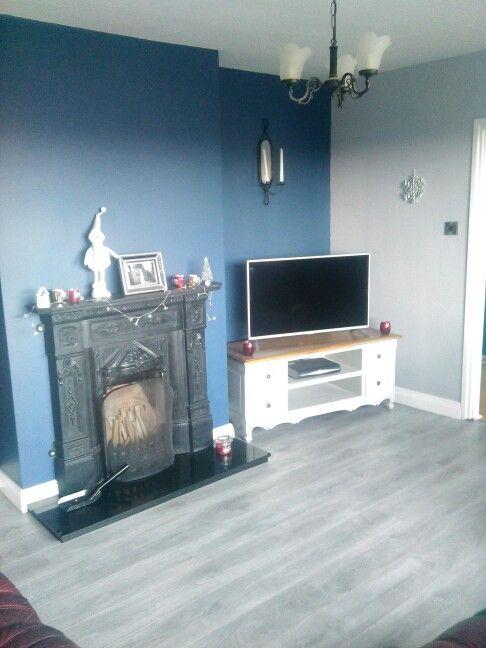 Living Room Deep Blue And Grey Walls Grey Wooden Floor Cast Iron Open Fireplace Natural Day Light Duluxuk G Grey Wall Color Light Blue Walls Grey Flooring