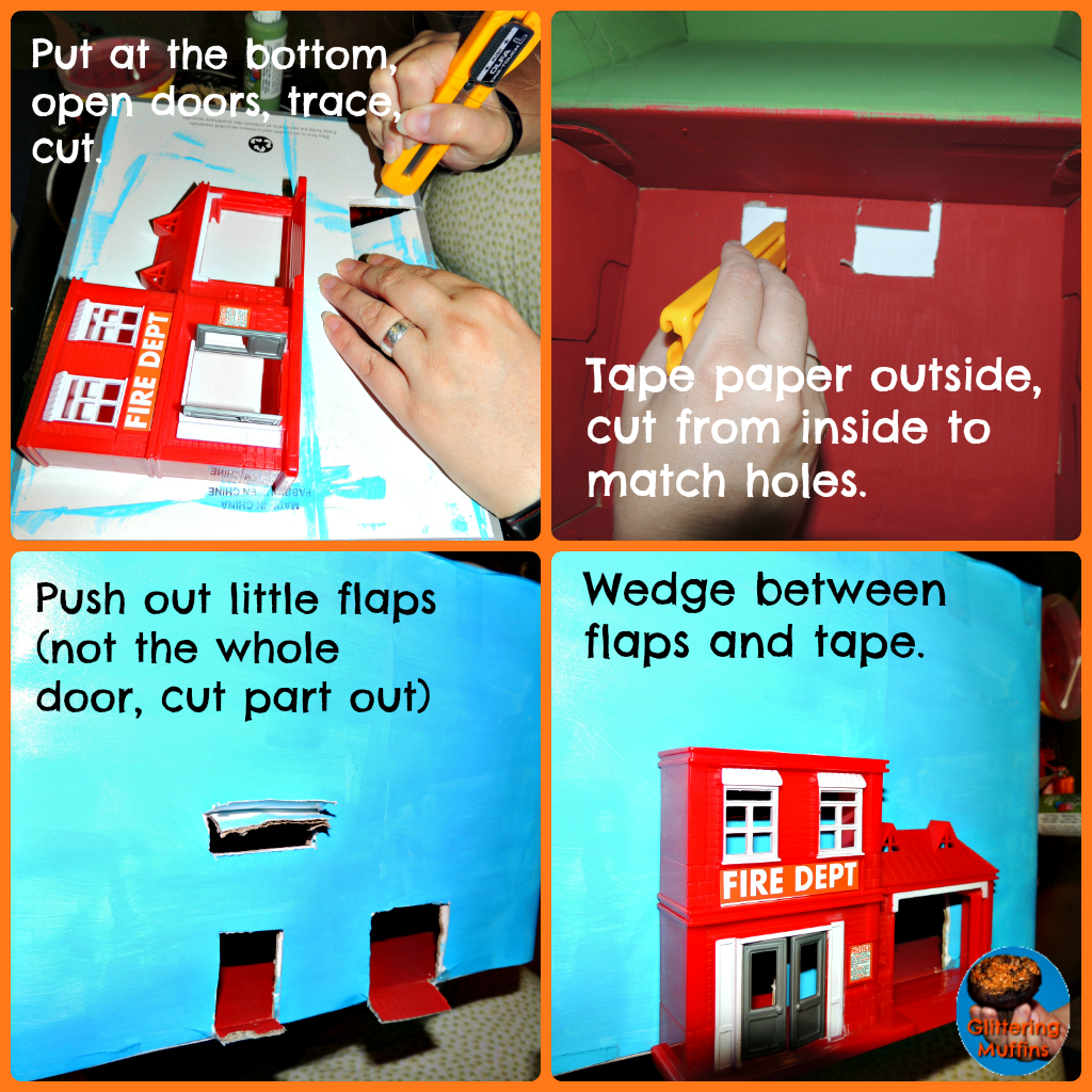 Shoe Box Dollhouse Craft For Kids: DIY Shoebox Fire Station From Glittering Muffins