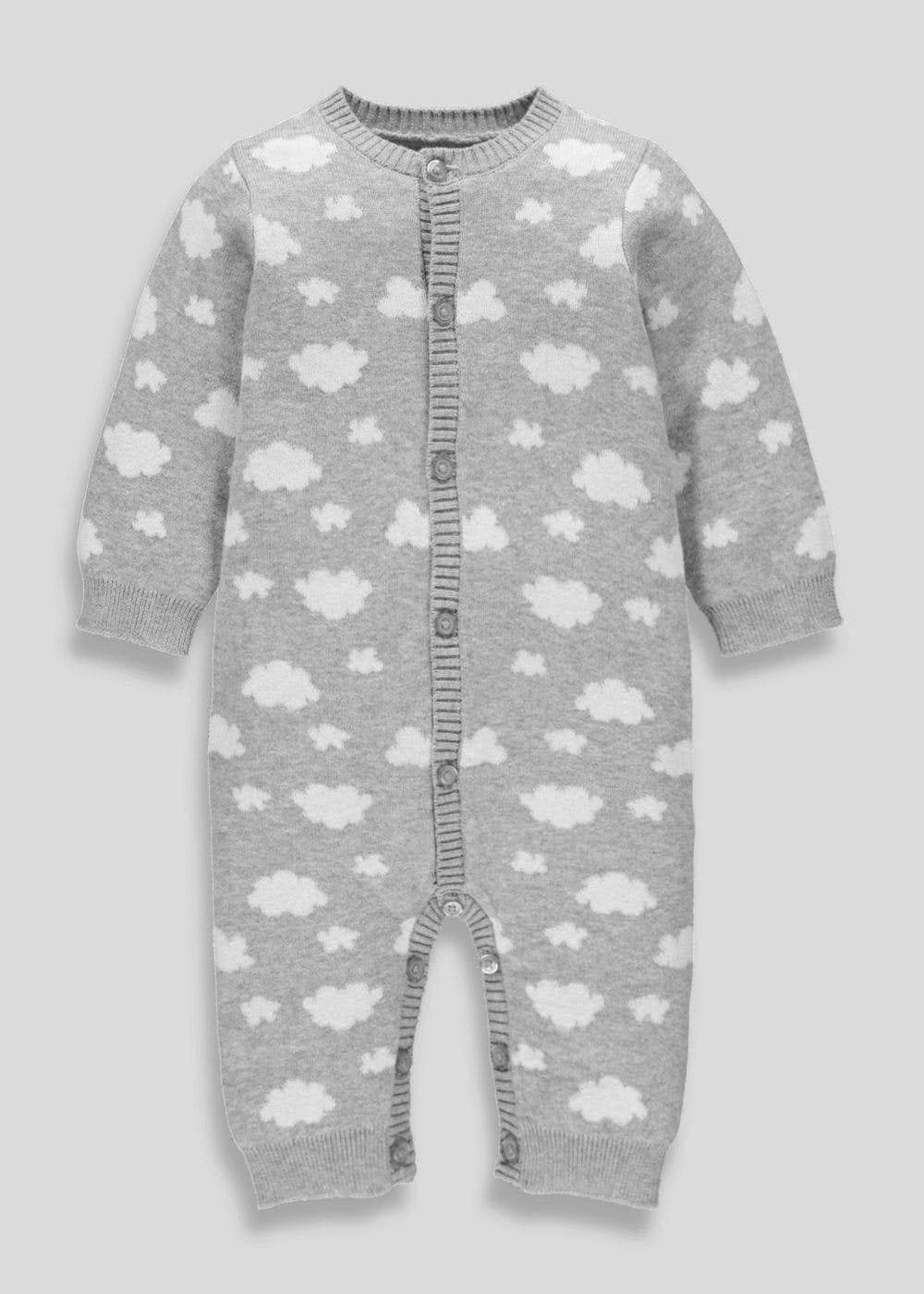 4d1ba6f37 Your baby will feel so cosy dressed in this adorable romper, crafted from  super soft knit which is perfect for delicate skin. The grey design is  adorned ...
