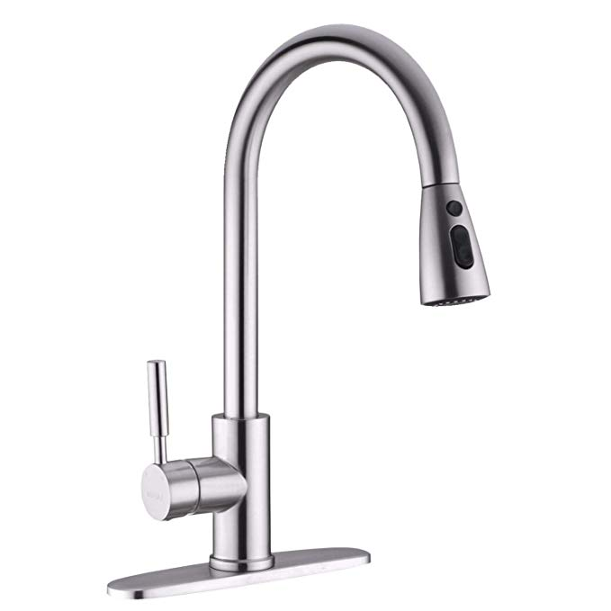 Fonveth Brushed Nickel Kitchen Faucet With Pull Down Sprayer