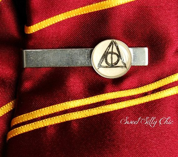Harry Potter Deathly Hallows Men's Tie Clip by SweetSillyChic, $16.00