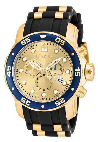Invicta Men's Pro Diver Gold Black Band Gold Dial