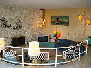 1970s sunken room / conversation pit blue hues