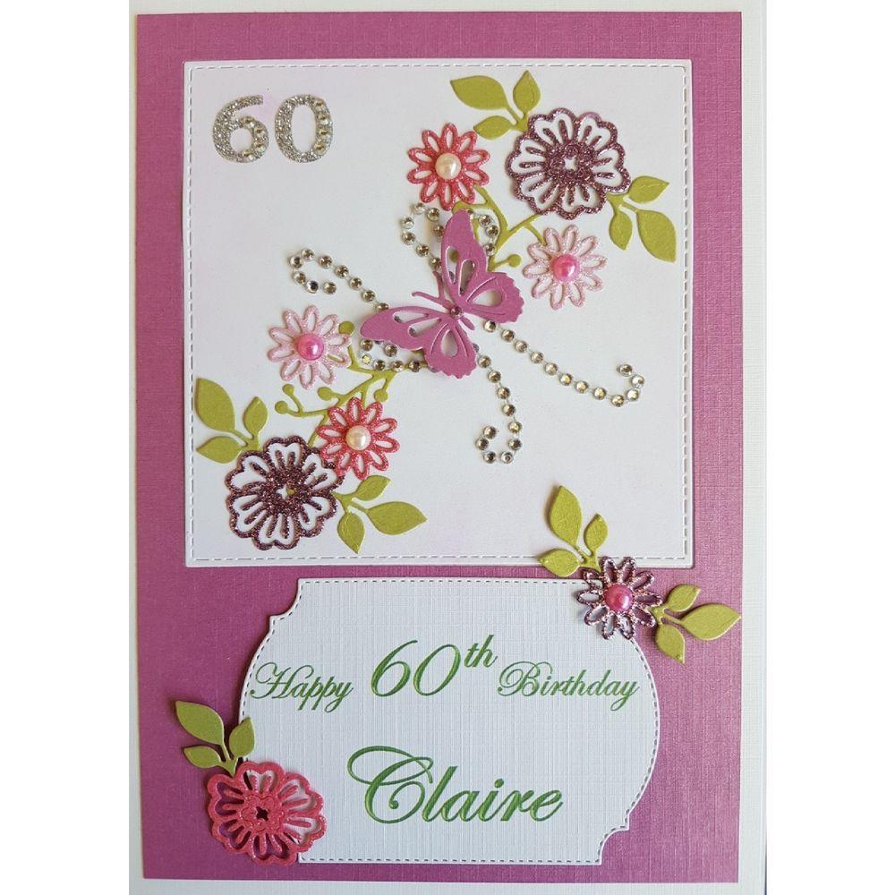 Handmade in UK Luxury 60th Birthday Card personalised