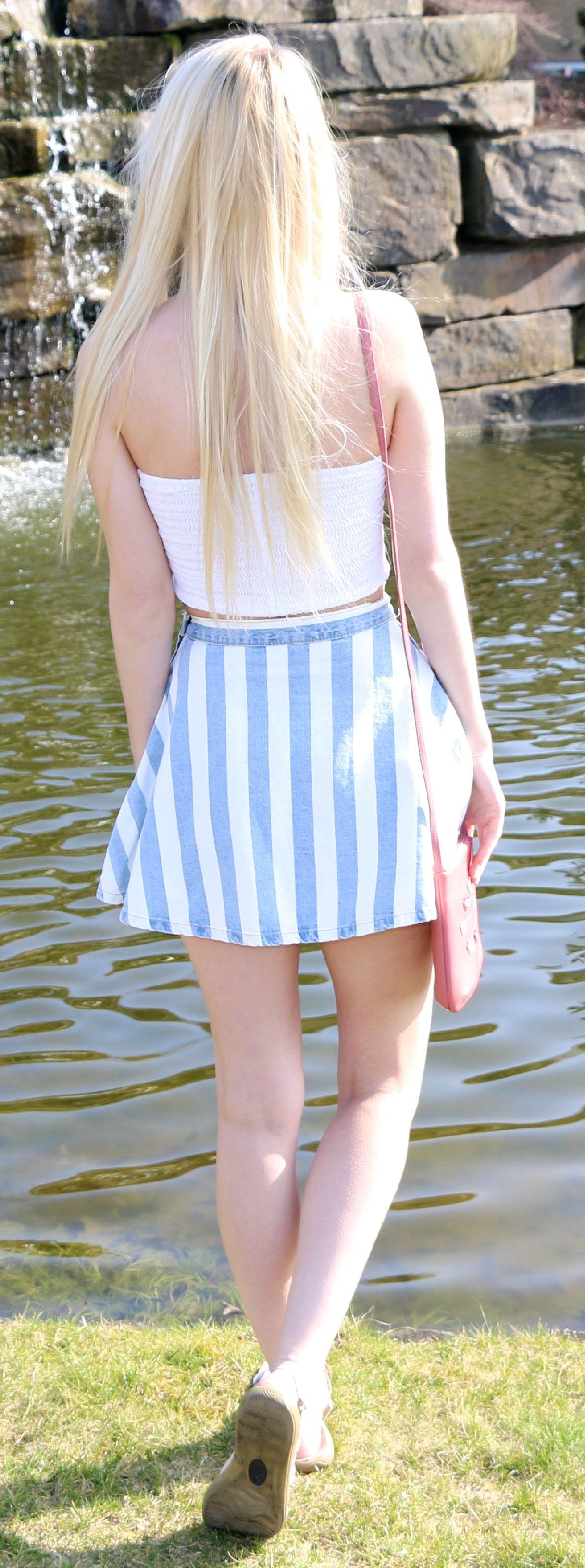 white ribbed bandeau, candy striped denim skater skirt, pink radley bag - summer fashion
