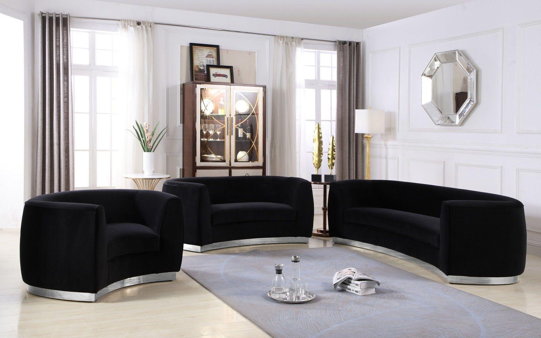 Best Meridian Julian Ii Black Velvet Contemporary Sofa W 400 x 300