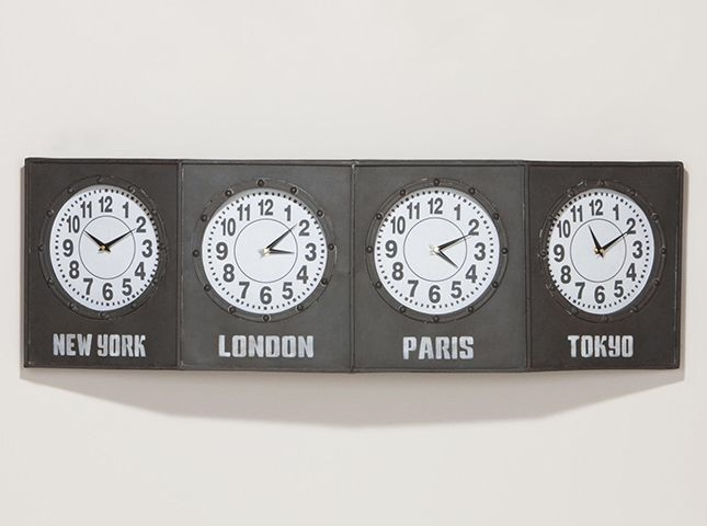 30 Bright Wall Clocks to Buy or DIY Time zone clocks Wall