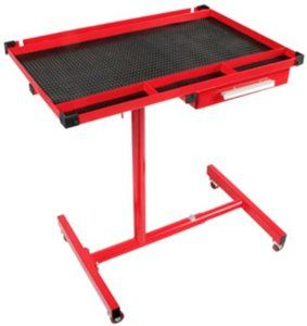 Sunex 8019 Adjustable Heavy Duty Work Table with Drawer by Sunex. $113.74. From the Manufacturer                This Sunex adjustable heavy duty work table with drawer has a new feature designed to house working air tools. It comes equipped with standard screwdriver and pry bar holder, 1 inch deep drawer for convenient storage, and a replacement caster with nut available.                                    Product Description                 Top tray dimension...