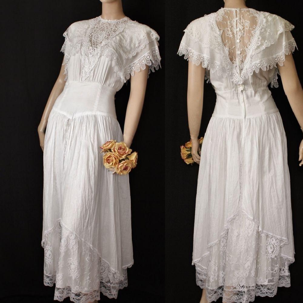 Vtg 80s Boho Gauze Ivory Lace Layered Jessica McClintock Bridal ...
