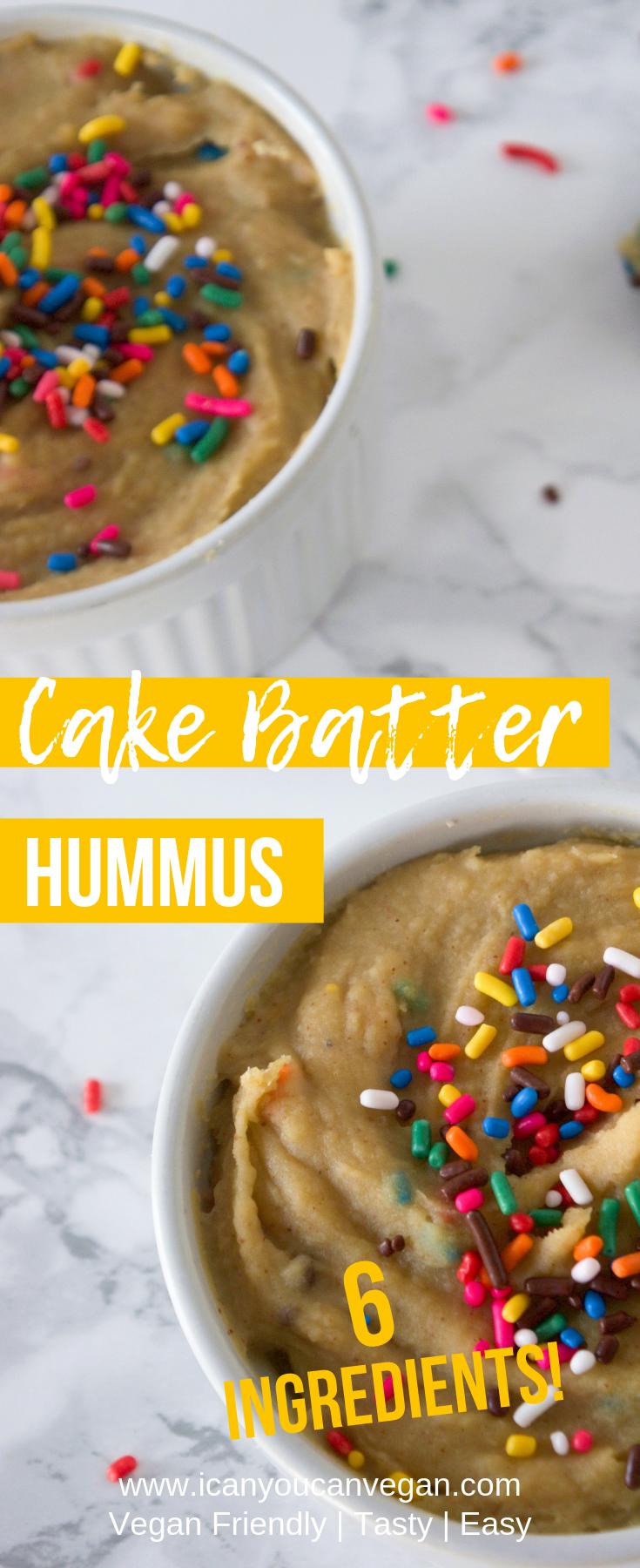 Cake Batter Dessert Hummus | ICanYouCanVegan Cake Batter Hummus