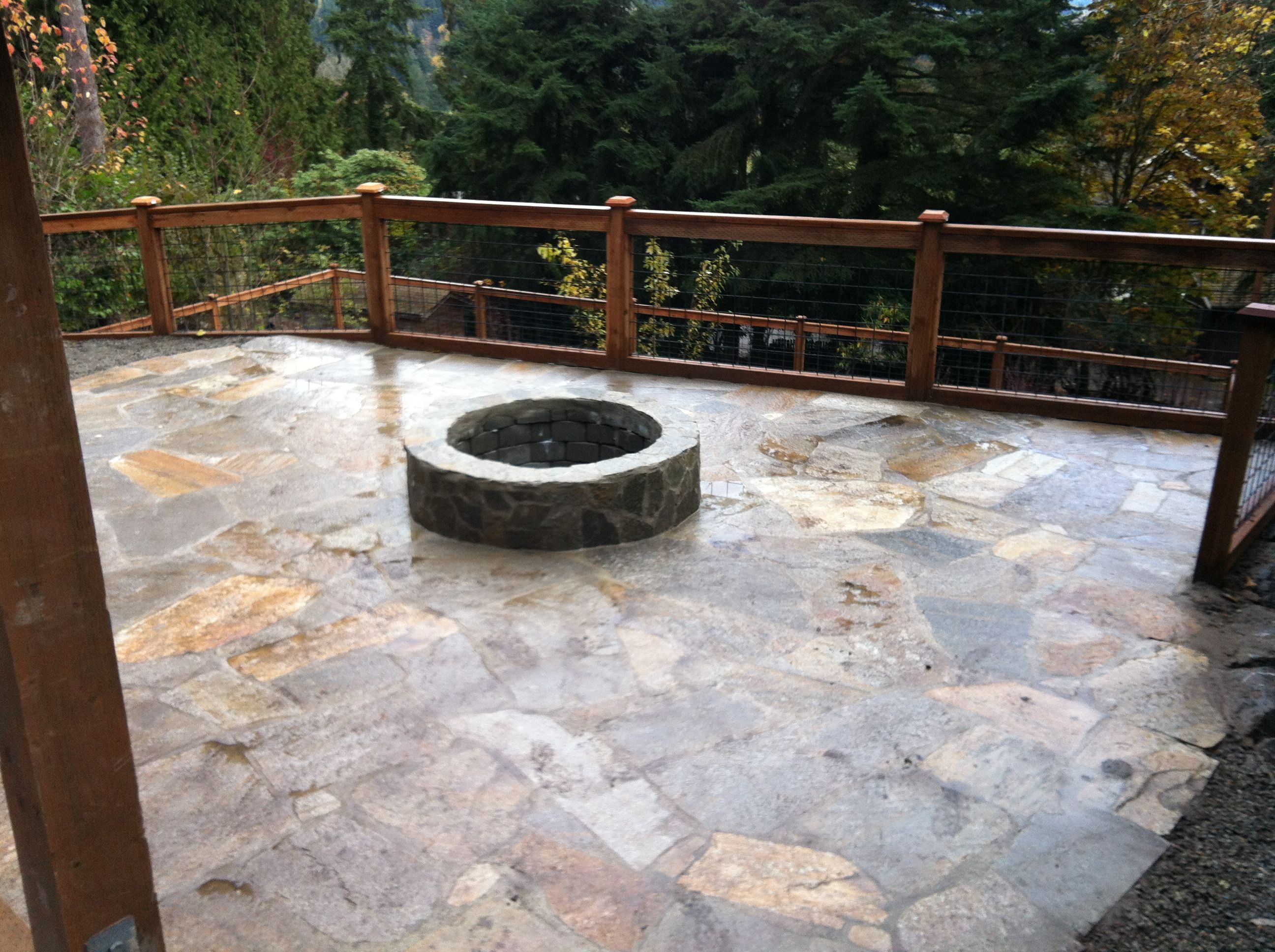 landscape design Flagstone Patio and Fire pit. For a quote contact SMS  Superiormaintenancesolutions.com