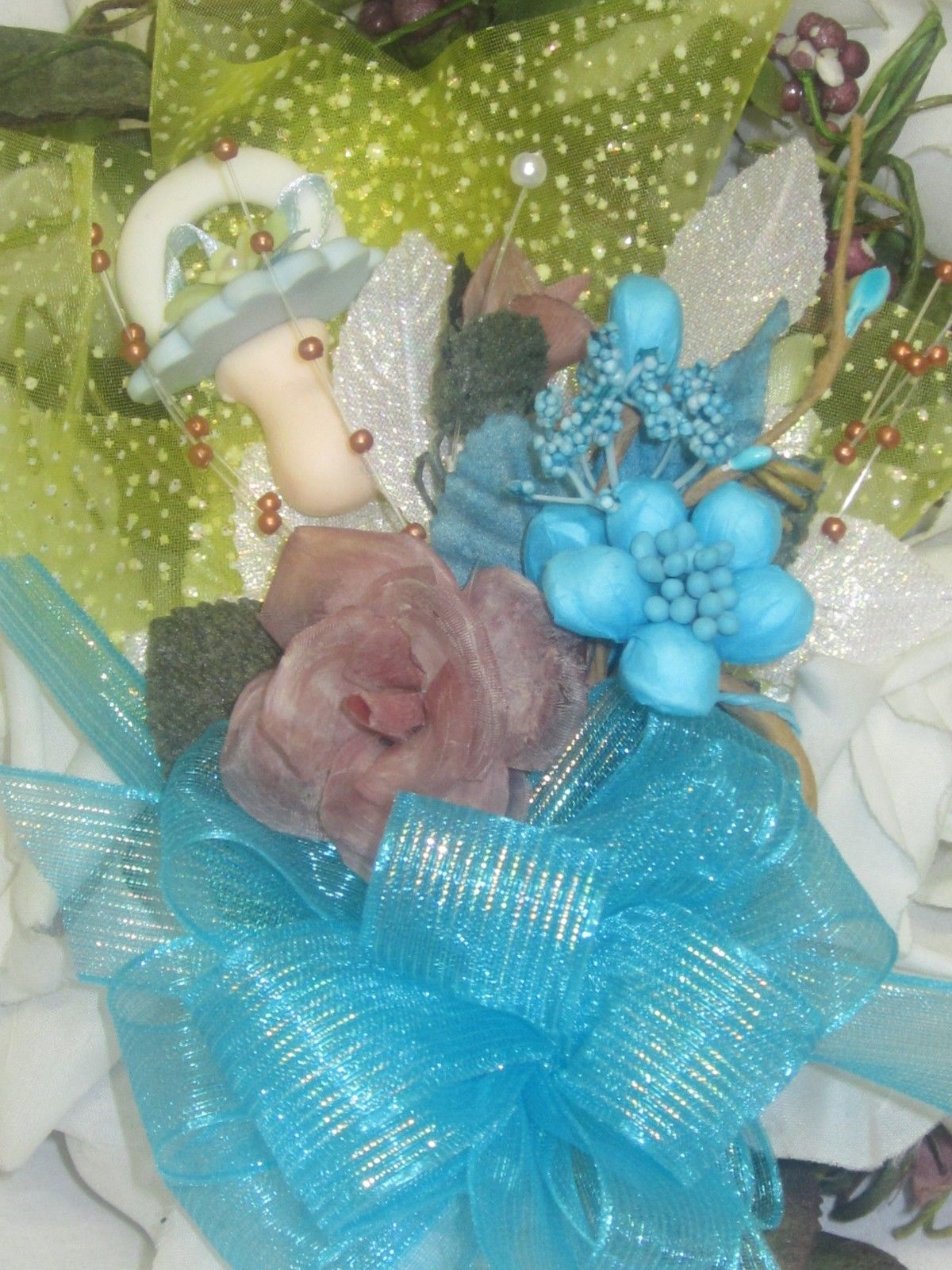 Baby Shower Boy Corsage Handmade Original Mom To Be Or Grandma Corsage #  3039
