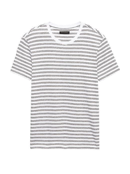 09c72ceddd0 Banana Republic Mens Heritage Linen-Cotton Stripe Crew-Neck T-Shirt White