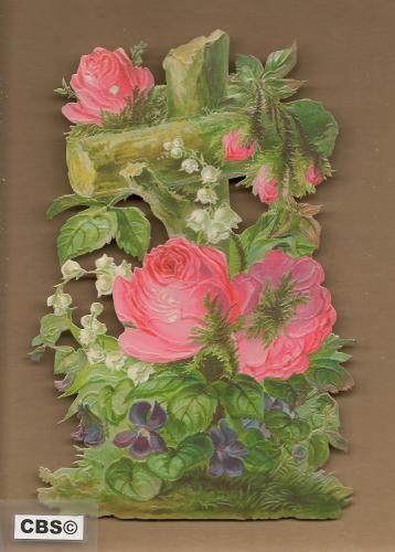 Paaskruis met bloemen en rozen poezieplaatjes 5069
