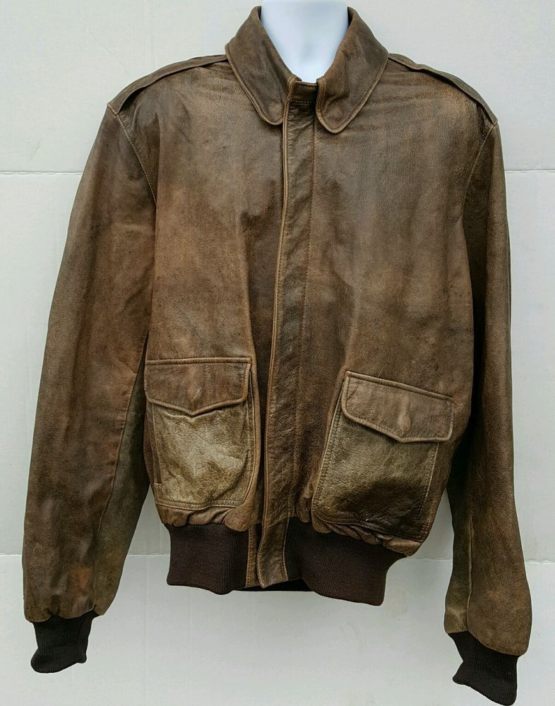 d6d4b8c66c9 Vintage LL Bean Flying Tiger Flight Bomber Jacket Goatskin Leather Coat  Size 44L in Clothing