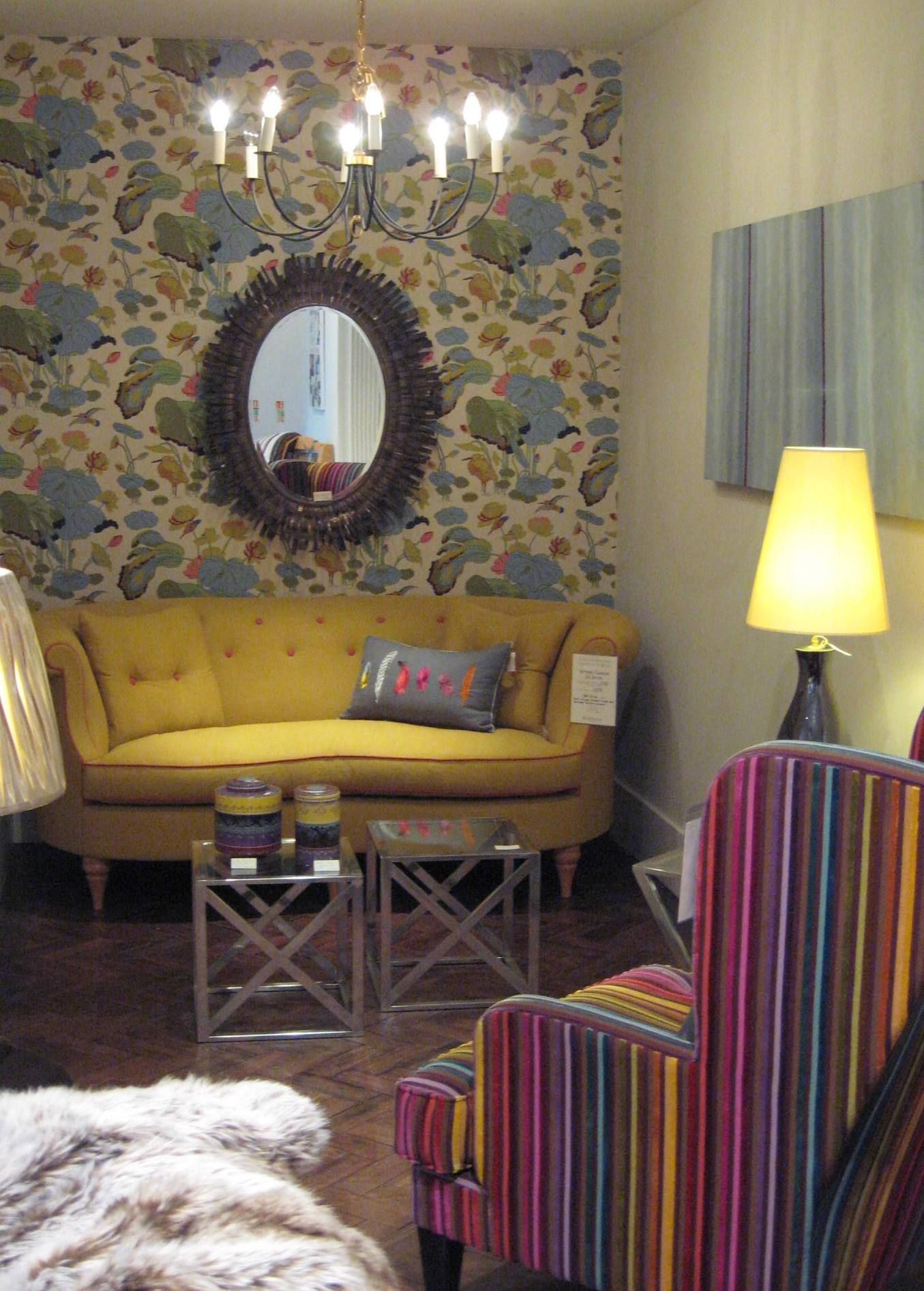 Colourful room set in our Wigmore Street showroom featuring the