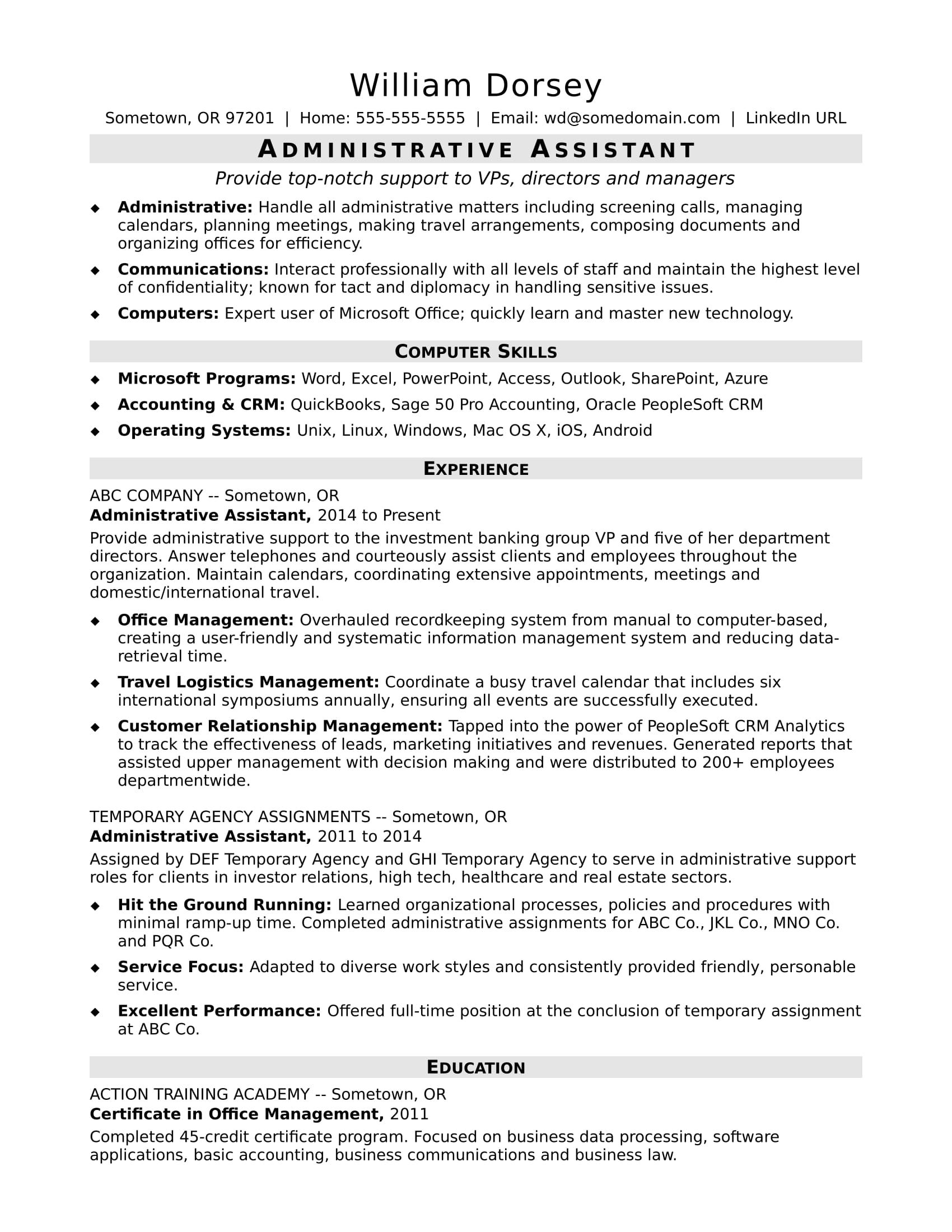 This Sample Resume For A Midlevel Administrative Assistant Shows How You Can Emphasize Your Office Skills And Proven Success In Administrative Roles Administrative Assistant Administrative Assistant Resume Office Assistant Resume