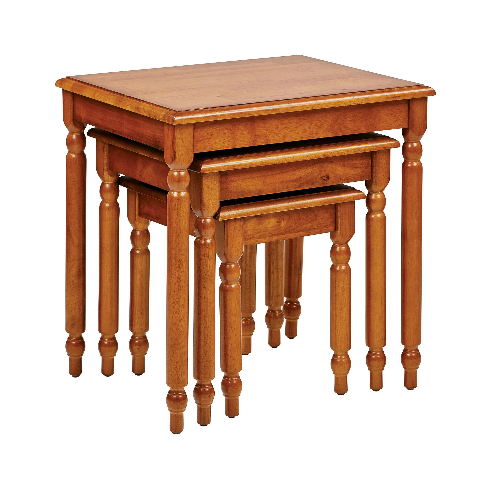 3pc Antique Cherry Nesting Table Set