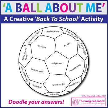Back To School Fun Art All About Me Soccer Ball Doodle Activity Back To School Art School Activities First Day Of School Activities