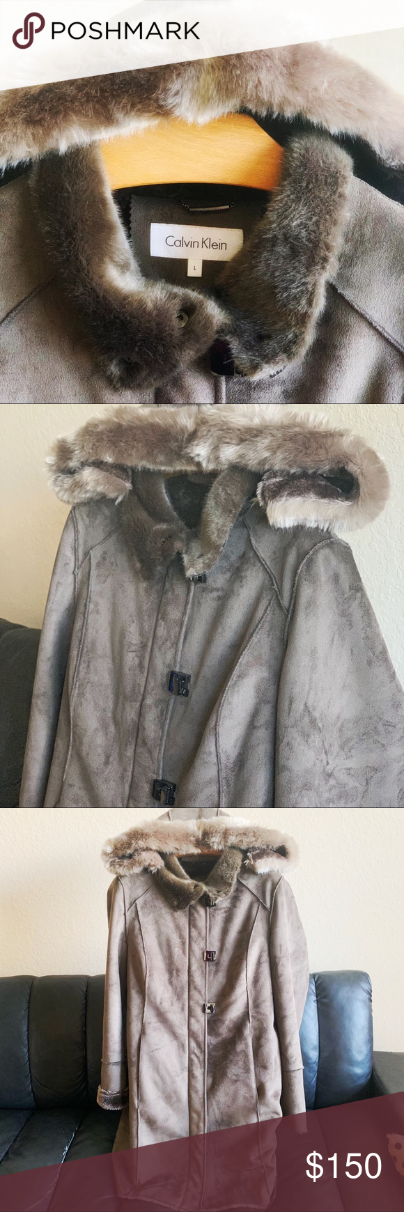 Calvin Klein Faux Fur Coat Never worn New w/o Tags Calvin