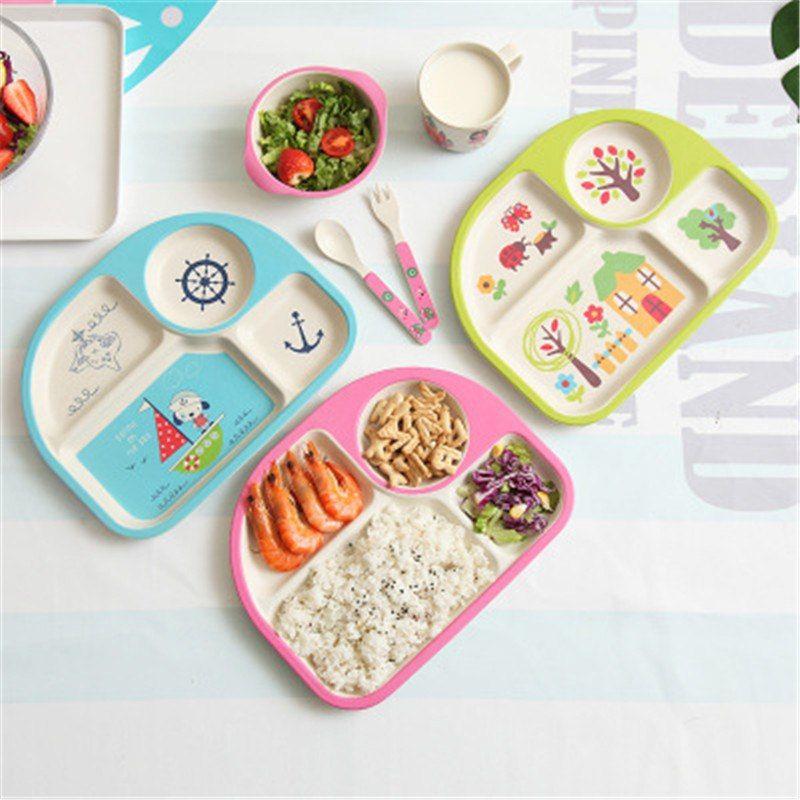 Ideacherry 5 unids/set bebé Set vajilla plato de fibra de bambú Pure tazón con cuchara tenedor placa platos de alimentación para utensilios regalo