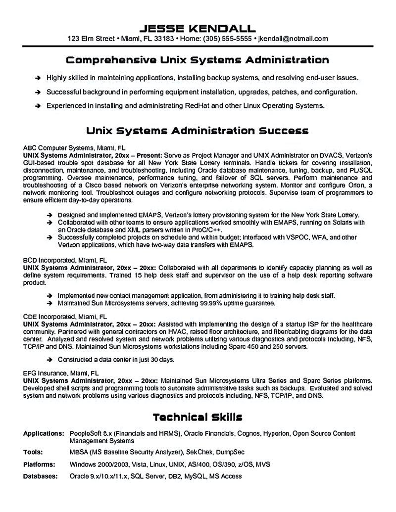 ... Administrator Resume Samples 1 638 Jpg Cb 1431467305 . Unix Resumes