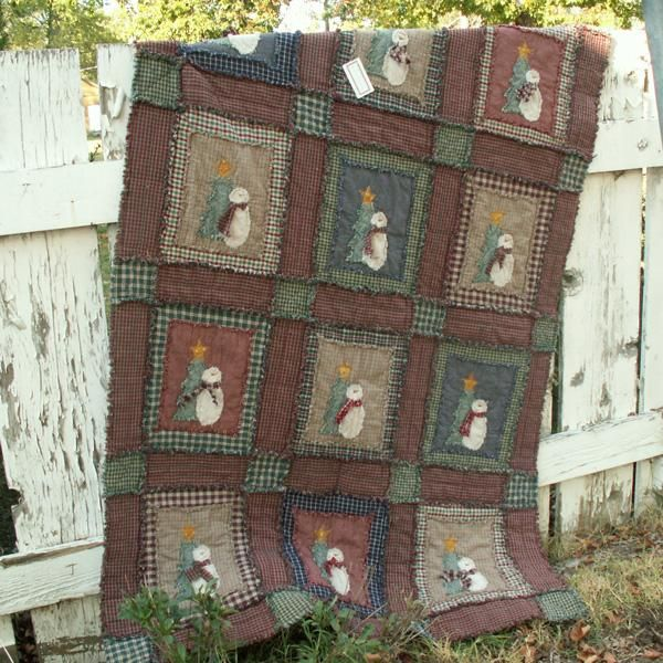 Ragged Shabby Snowman Quilt Pattern