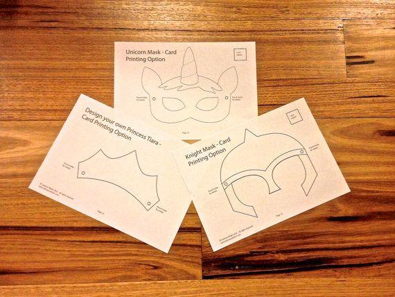 Fairytale (Princess Tiara, Unicorn and Knight Mask) Felt Mask PDF ...