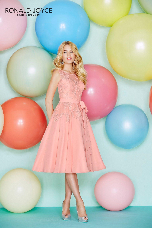 Ronald joyce stylea coral knee length bridesmaid dress features