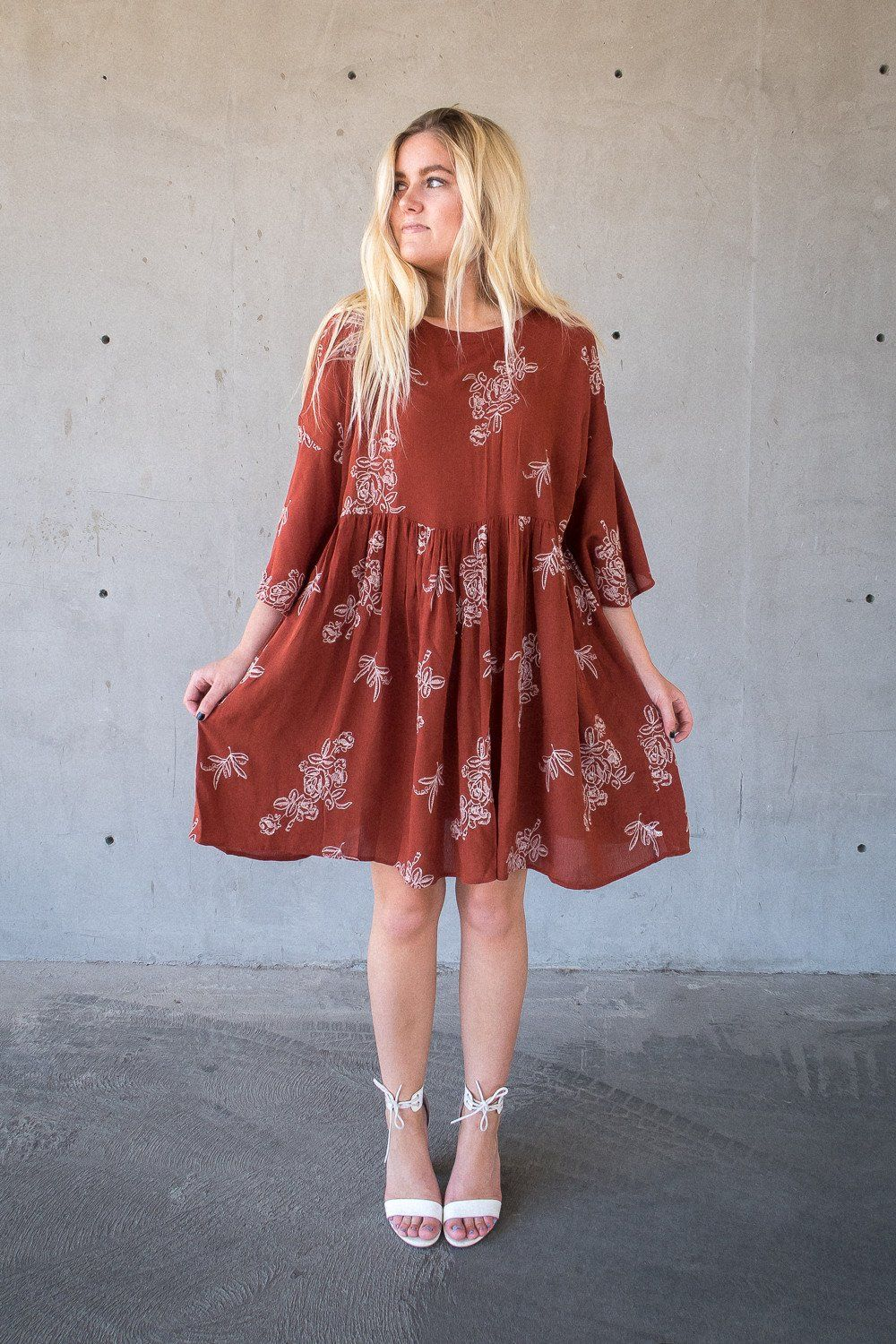 Embroider Me Dress || @beherenowclothing || floral knee length dress, similar to free people, revolve, anthropologie style dress, summer, easy outfit.