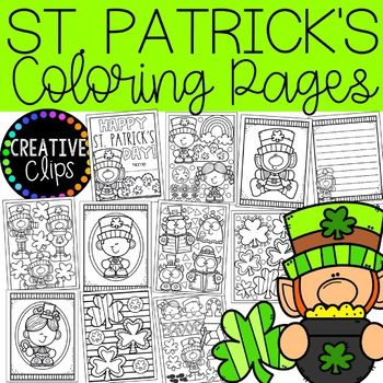 St Patrick S Day Coloring Pages Writing By Krista Wallden Creative Clips Teachers Pay T In 2020 Creative Clips Clipart Halloween Coloring Book Writing Paper