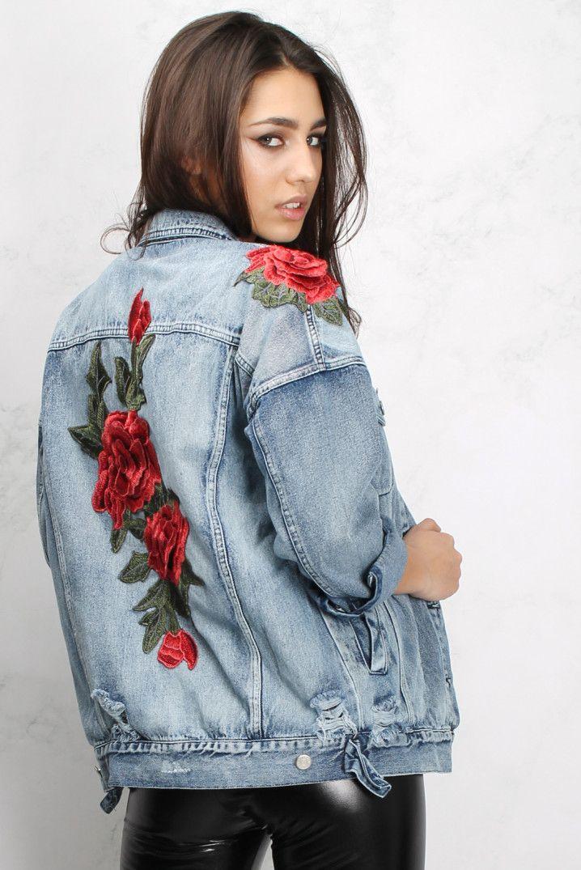 c943963450 Rose Embroidered Denim Jacket