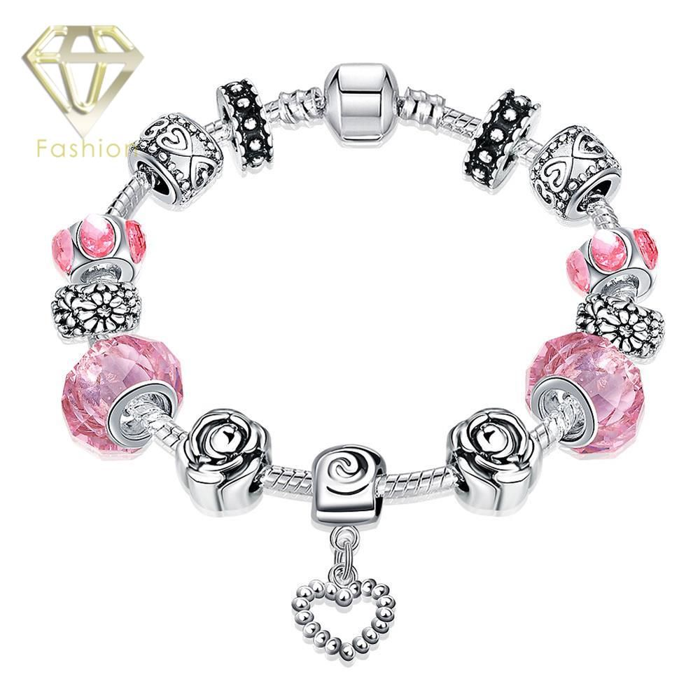 Click to buy ucuc silver plated bracelets high quality pink u black