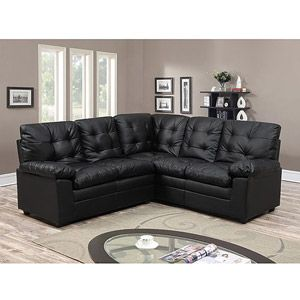 Buchannan Faux Leather Corner Sectional Sofa Black With Images Small Space Sectional Sofa Corner Sectional Sofa Faux Leather Sofa