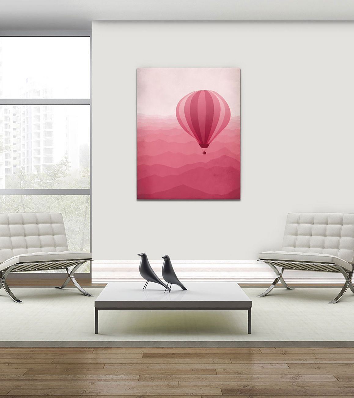 """Whimsical pink nursery canvas art print of hot air balloon over mountains. Works well in both adult and kids spaces, teen rooms or as dorm decor. • 1.5"""" deep gallery wrapped canvas • Printed on a thic"""