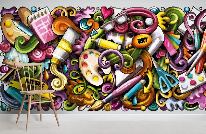 3d Graffiti Painting Tool Wallpaper Removable Self Adhesive Etsy Graffiti Wallpaper Graffiti Painting Mural Wall Art