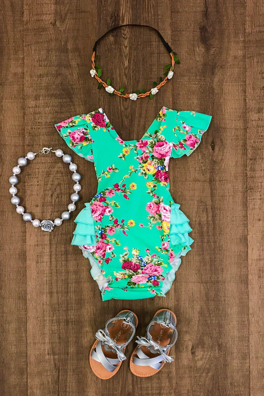 7180636be Mint Floral Ruffle Romper. Mint Floral Ruffle Romper Ruffle Romper, Baby  Outfits, Toddler ...