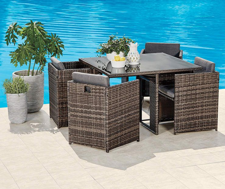 Wilson Fisher 5 Piece All Weather Wicker Dining Set Big Lots Wicker Dining Set Luxury Seating Outdoor Furniture Sets