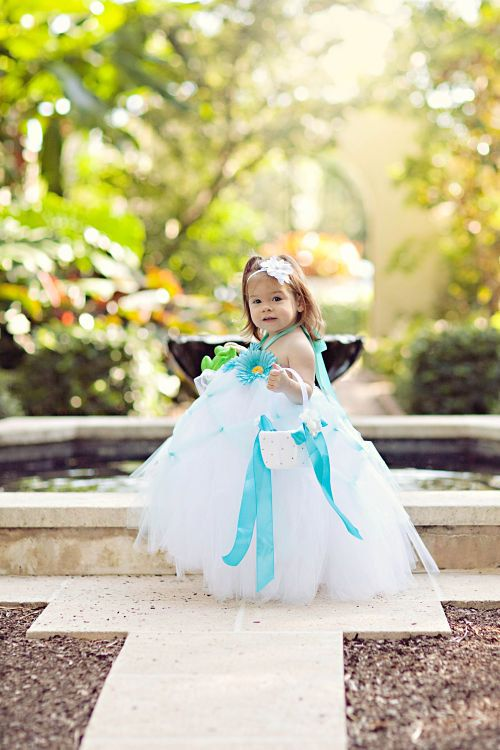 White Tutu Halter Dress with Aqua CrissCross Tulle, Ribbon and Flowers in Baby to Adult by FrillsandFireflies on Etsy, $70.00