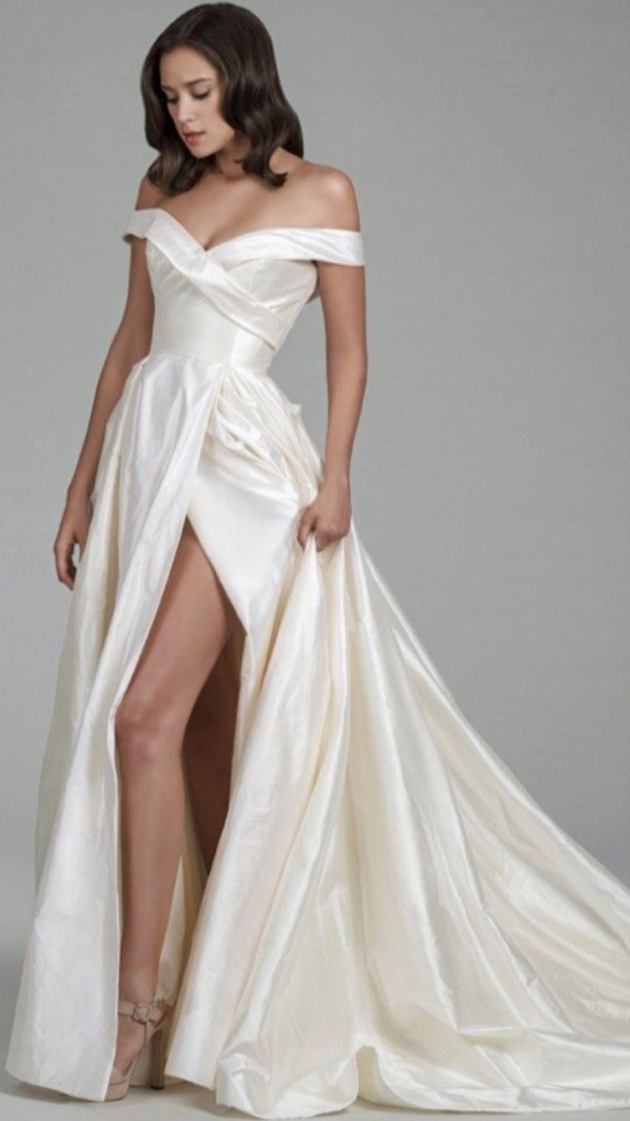 7d99e6fa84d Simple wedding dresses  satin  Wedding  offtheshoulder  slit  aline   Weddingdress  2018  fashion  new  sexy