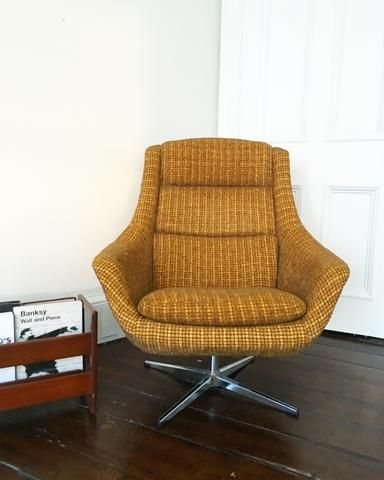 mid century egg chair herman miller lounge vintage schreiber yellow from habiib home archive