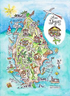 Watercolor Series Of Illustrated Maps Of The Islands Of