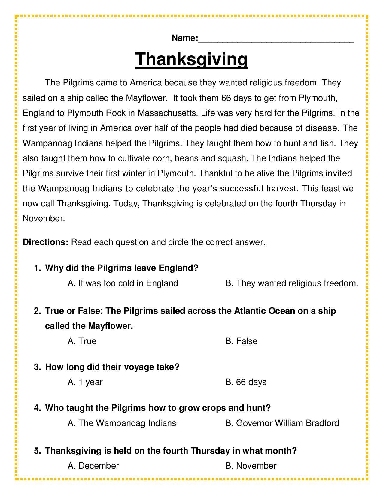 Quiz Thanksgiving Passage Amp 5 Multiple Choice Quiz