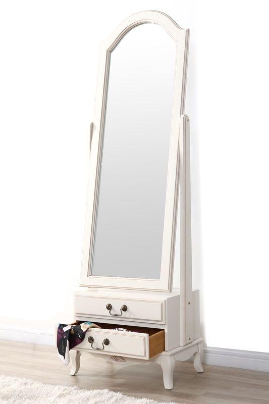 Miroir psyché baroque bois blanc BIANCA   meubles en carton ...