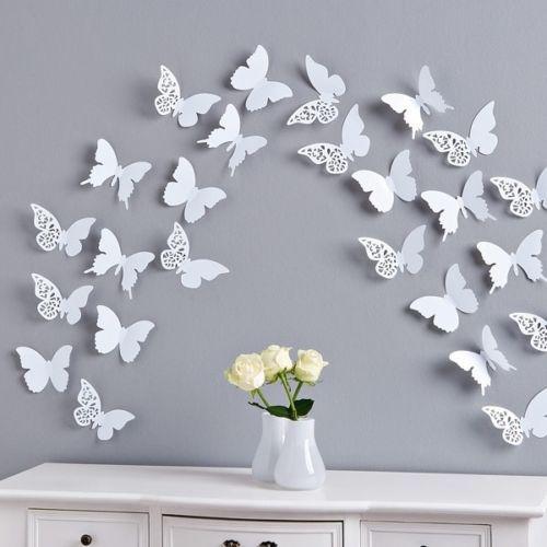 Schmetterlinge ornament 3d wanddeko wandtatto deko tiere - Wanddeko schmetterlinge 3d ...