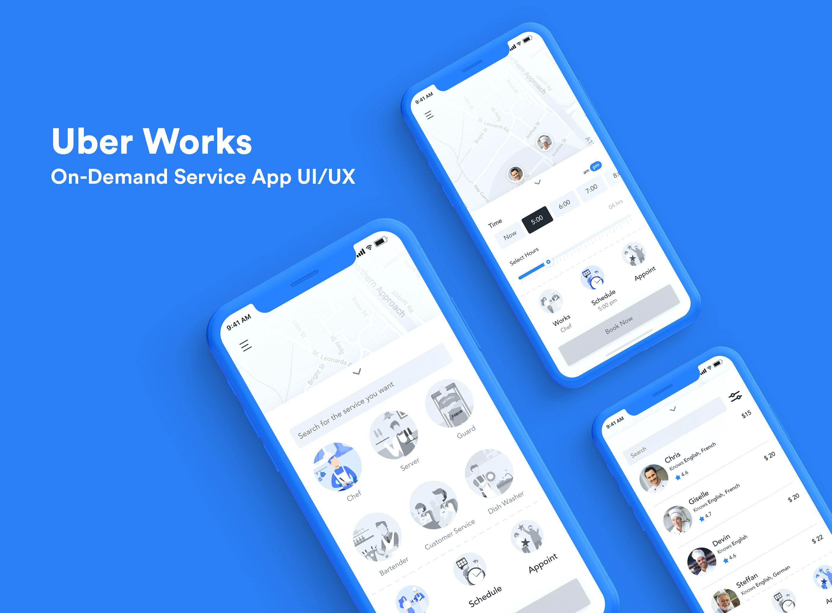"""다음 Behance 프로젝트 확인 """"Uber Works OnDemand Staffing App"""