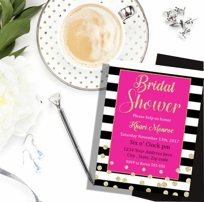 Kate Spade Invitation Bridal Shower Printable Spade Party Pink